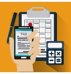 Document and smartphone icon Tax and Financial vector image vector image