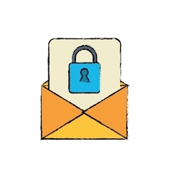 Drawing email message security system technology vector