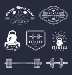 fitness logos set hand sketched athletic vector image