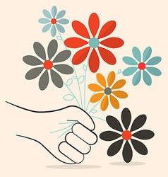 Flat Design Retro Flowers in Hand vector image vector image