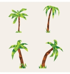Four lowpoly palm trees vector image vector image