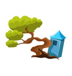 Green tree and stupa bonsai miniature traditional vector