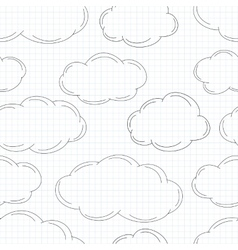 Hand drawn clouds on squared paper vector