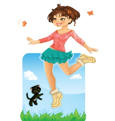 Happy girl jumping vector