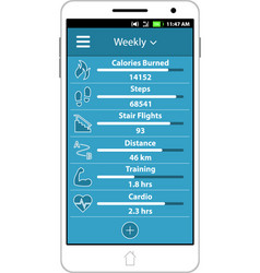 Health and fitness smart phone application vector