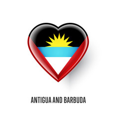 Heart symbol with antigua and barbuda flag vector