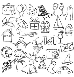 Holiday and events sketch images vector