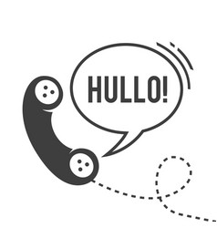 hullo handset with wire black and white vector image vector image