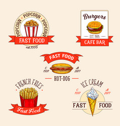 Icons set for fast food restuarant vector