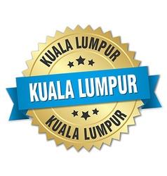 Kuala lumpur round golden badge with blue ribbon vector