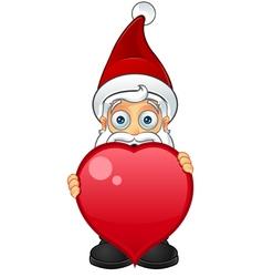 Santa Claus Holding Big Heart vector image