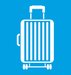 Suitcase on wheels icon white vector
