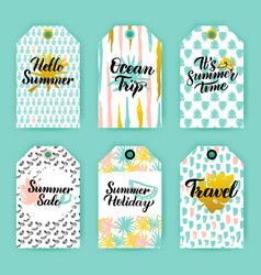 Summer time trendy gift labels vector