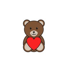 Teddy bear wtih heart solid icon soft toy vector
