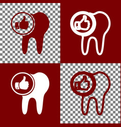 Tooth sign with thumbs up symbol bordo vector