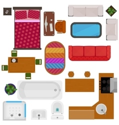 Top view of home furniture vector