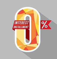 Zero percent interest installment vector