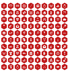 100 love icons hexagon red vector