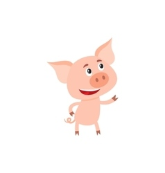 Funny little pig standing on two legs and looking vector