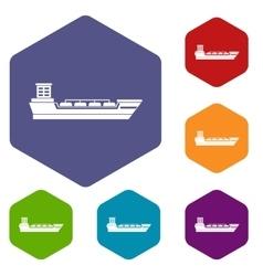Oil tanker ship icons set vector
