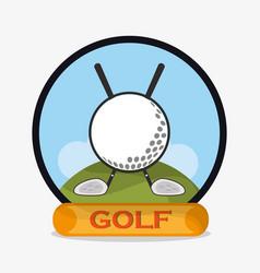 golf ball clubs emblem vector image