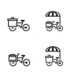 Mobile food bicycle icons vector