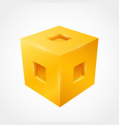 Three-dimensional cube clean vector