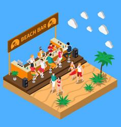 Beach bar isometric composition vector
