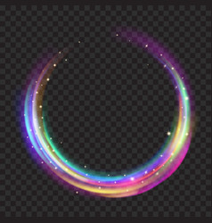 multicolored glowing fire rings with glitters vector image