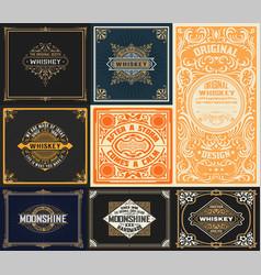 9 vintage cards set vector image