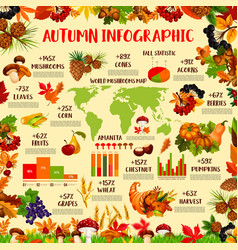 Autumn season nature infographic template design vector