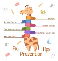Flu prevention tips with giraffe vector