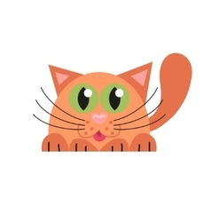 Cute cat lying and hunting vector