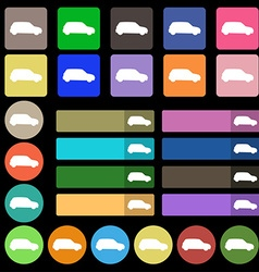 Jeep icon sign set from twenty seven multicolored vector