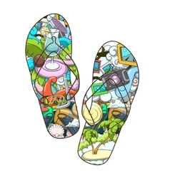 Summer slippers abstract design vector