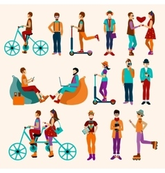 Hipster people flat set vector