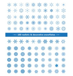 Set of realistic and decorative snowflakes blue on vector image