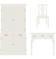 Vintage white furniture vector