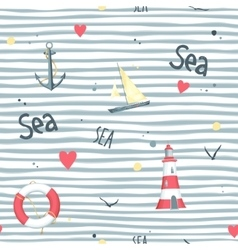 Pattern sailboat lifebuoy anchor lighthouse vector