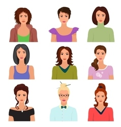 Female woman character faces avatars in vector image