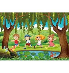 Four kids running in the park vector image