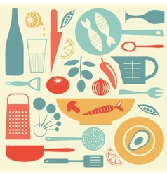 A stylish colorful kitchen collection vector image vector image