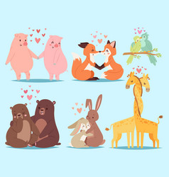 Animals couple in love valentines day holiday vector