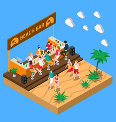beach bar isometric composition vector image