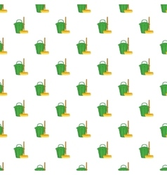Brush and bucket pattern cartoon style vector