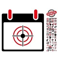 Bullseye calendar day flat icon with bonus vector