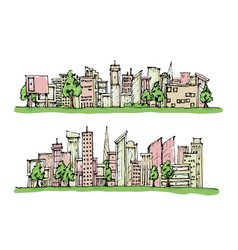 Cartoon hand drawing city and trees with color on vector