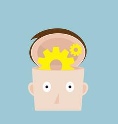 cog gear wheel in human head vector image vector image