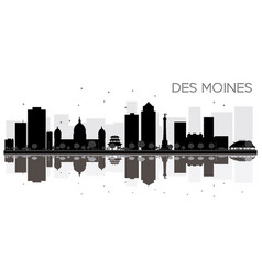 Des moines city skyline black and white vector