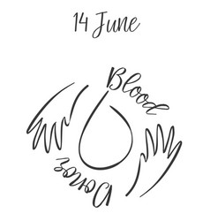 Doodle blood donor day hand draw vector